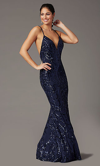 Navy Long Sequin Formal Prom Dress by PromGirl