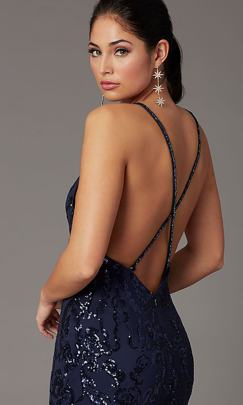 Image of navy long sequin formal prom dress by PromGirl. Style: PG-Z20628 Detail Image 2