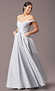 Image of PromGirl off-the-shoulder glitter prom dress. Style: PG-Z20583 Front Image