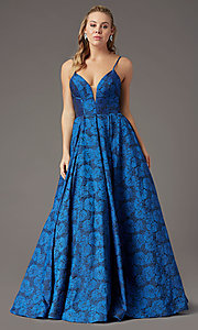 Image of print brocade long formal prom dress by PromGirl. Style: PG-Z20566 Detail Image 6