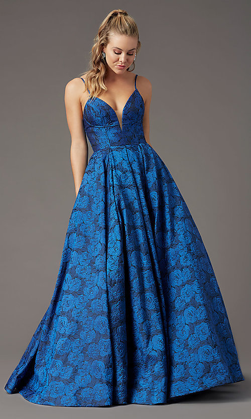 Image of print brocade long formal prom dress by PromGirl. Style: PG-Z20566 Detail Image 3