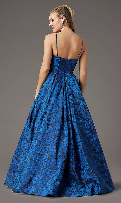 Image of print brocade long formal prom dress by PromGirl. Style: PG-Z20566 Detail Image 4