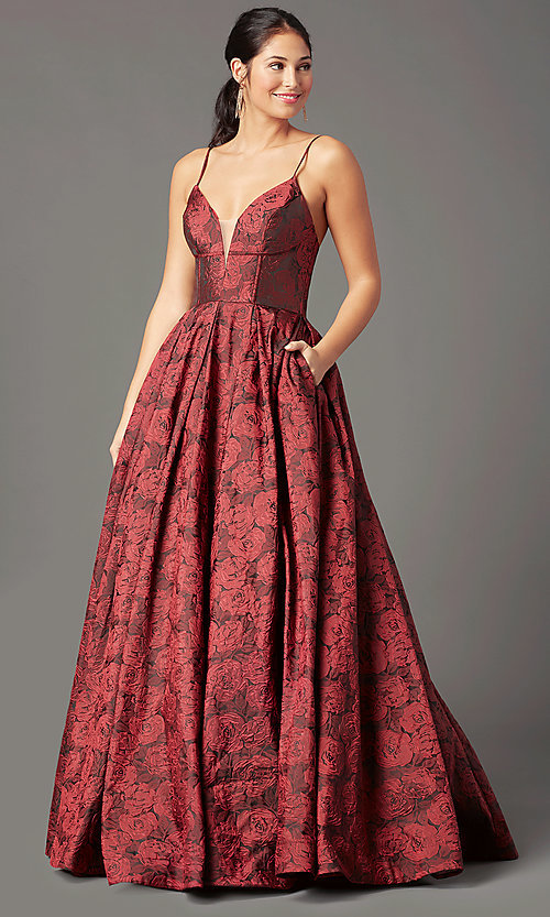 Image of print brocade long formal prom dress by PromGirl. Style: PG-Z20566 Front Image