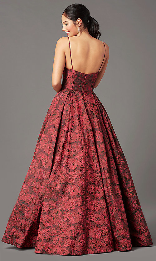 Image of print brocade long formal prom dress by PromGirl. Style: PG-Z20566 Back Image