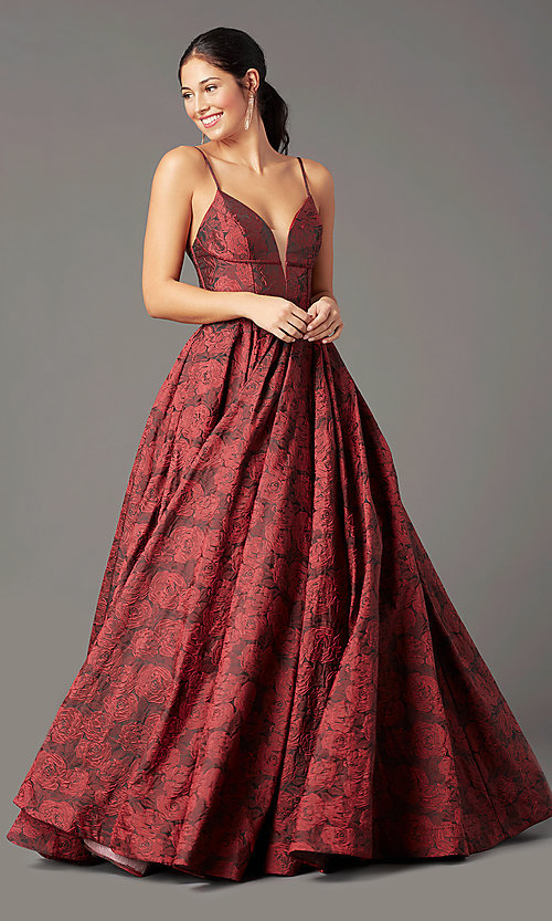 Image of print brocade long formal prom dress by PromGirl. Style: PG-Z20566 Detail Image 2