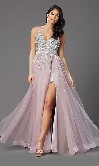 PromGirl Long Mauve Tulle Prom Dress with Beads