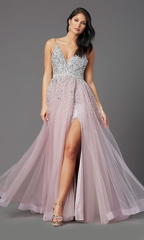 Image of PromGirl long mauve tulle prom dress with beads. Style: PG-Z20564 Front Image