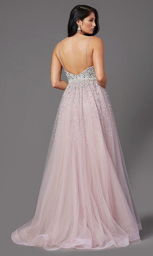 Image of PromGirl long mauve tulle prom dress with beads. Style: PG-Z20564 Back Image