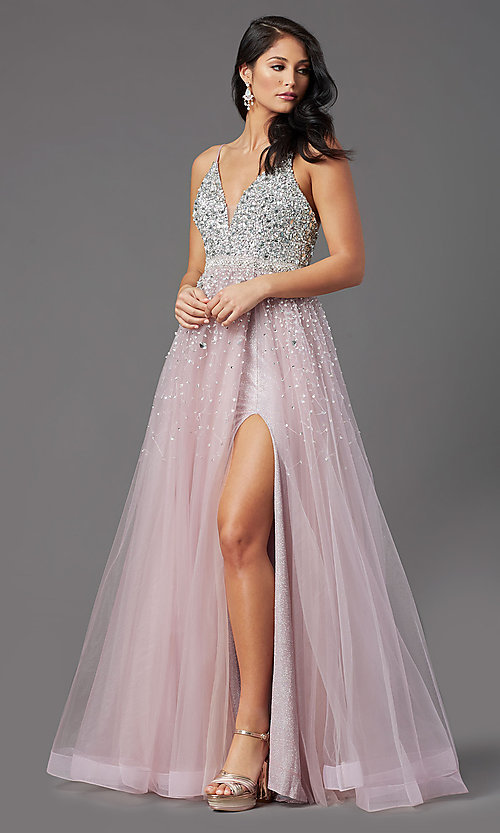 Image of PromGirl long mauve tulle prom dress with beads. Style: PG-Z20564 Detail Image 2