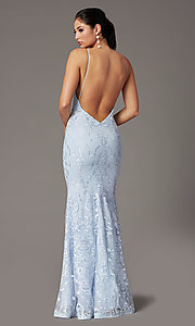 Image of backless powder blue long prom dress by PromGirl. Style: PG-Z20555 Back Image