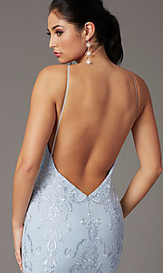 Image of backless powder blue long prom dress by PromGirl. Style: PG-Z20555 Detail Image 2