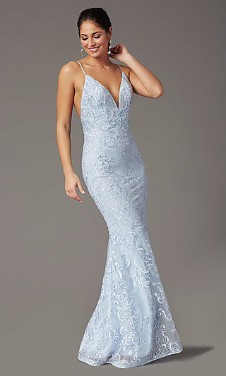 Backless Powder Blue Long Prom Dress by PromGirl