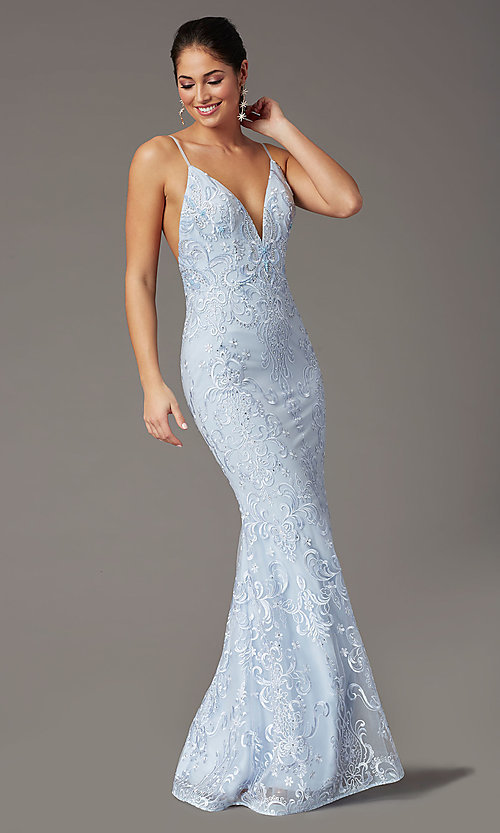 Image of backless powder blue long prom dress by PromGirl. Style: PG-Z20555 Front Image