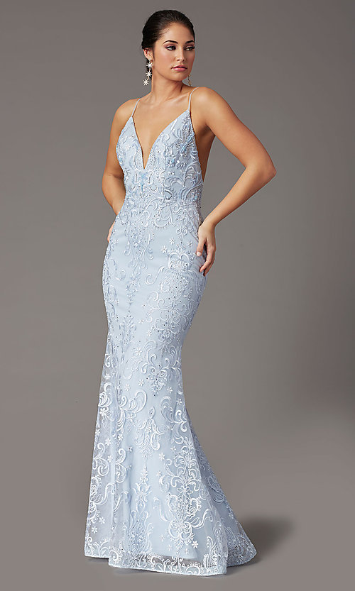 Image of backless powder blue long prom dress by PromGirl. Style: PG-Z20555 Detail Image 1