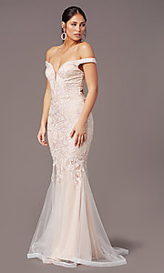 Image of mermaid long off-shoulder prom dress by PromGirl. Style: PG-Z20553 Detail Image 2
