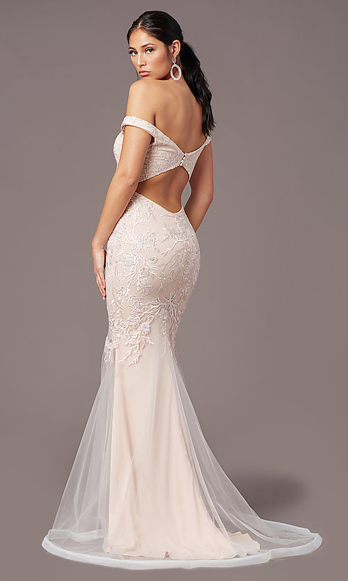 Image of mermaid long off-shoulder prom dress by PromGirl. Style: PG-Z20553 Back Image
