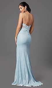 Image of electric blue sparkly prom dress by PromGirl. Style: PG-Z20535 Back Image
