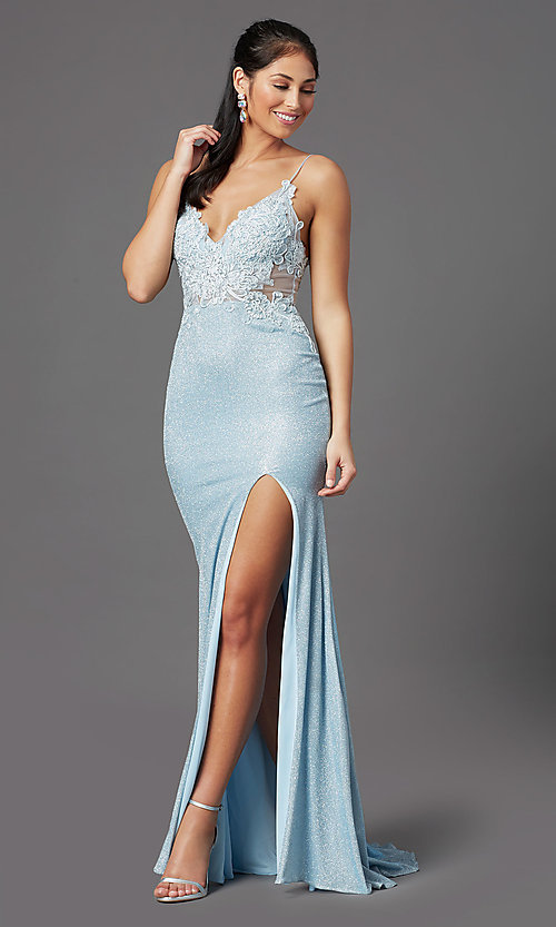 Image of electric blue sparkly prom dress by PromGirl. Style: PG-Z20535 Detail Image 2