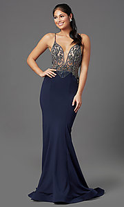 Image of navy blue long formal prom dress by PromGirl. Style: PG-Z20530 Front Image