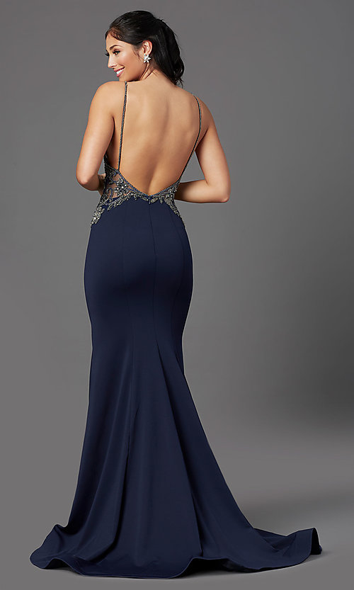 Image of navy blue long formal prom dress by PromGirl. Style: PG-Z20530 Back Image