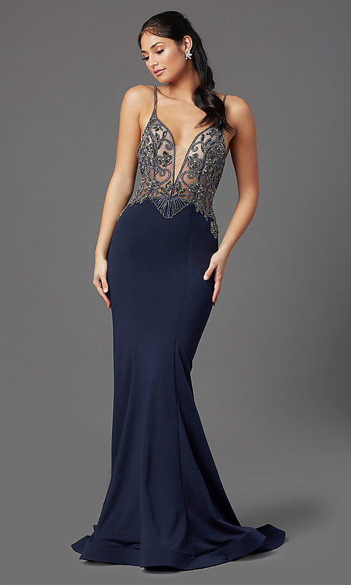 Image of navy blue long formal prom dress by PromGirl. Style: PG-Z20530 Detail Image 2
