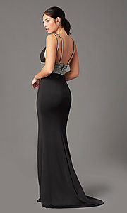 Image of PromGirl bead-trimmed long black formal prom dress. Style: PG-F2035 Back Image