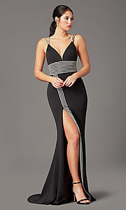 Image of PromGirl bead-trimmed long black formal prom dress. Style: PG-F2035 Front Image