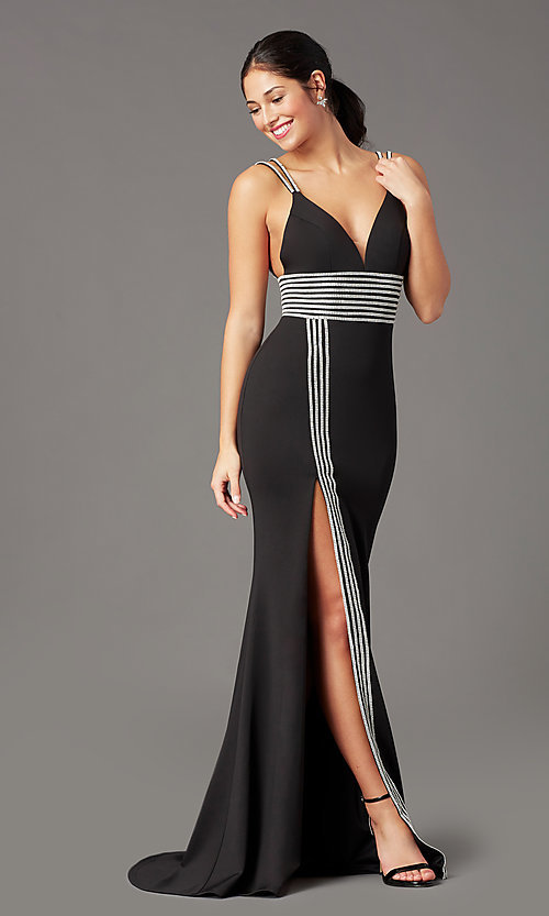 Image of PromGirl bead-trimmed long black formal prom dress. Style: PG-F2035 Detail Image 2