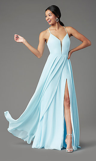 Corset-Back Long Formal Prom Dress by PromGirl