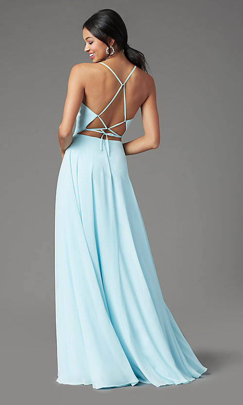 Image of corset-back long formal prom dress by PromGirl. Style: PG-B2004 Back Image