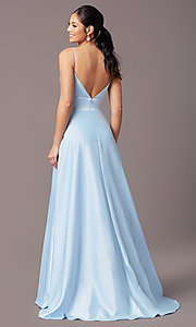 Image of open-back long formal prom dress by PromGirl. Style: PG-B2006 Detail Image 4