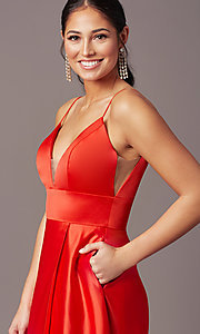 Image of open-back long formal prom dress by PromGirl. Style: PG-B2006 Detail Image 1