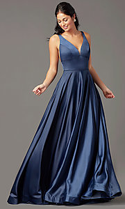Image of PromGirl long satin prom dress with side pockets. Style: PG-B2007 Front Image