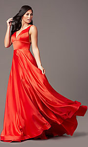 Image of PromGirl long satin prom dress with side pockets. Style: PG-B2007 Detail Image 3