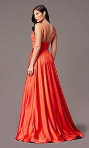 Image of PromGirl long satin prom dress with side pockets. Style: PG-B2007 Detail Image 4