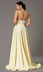 Image of PromGirl long satin prom dress with side pockets. Style: PG-B2007 Detail Image 7