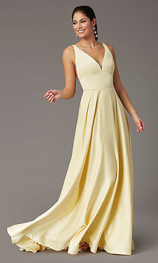 PromGirl Long Satin Prom Dress with Side Pockets