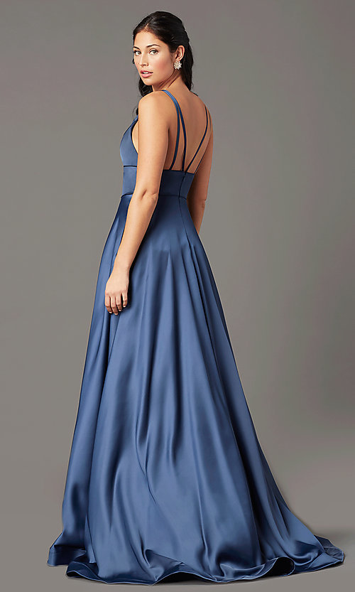 Image of PromGirl long satin prom dress with side pockets. Style: PG-B2007 Back Image