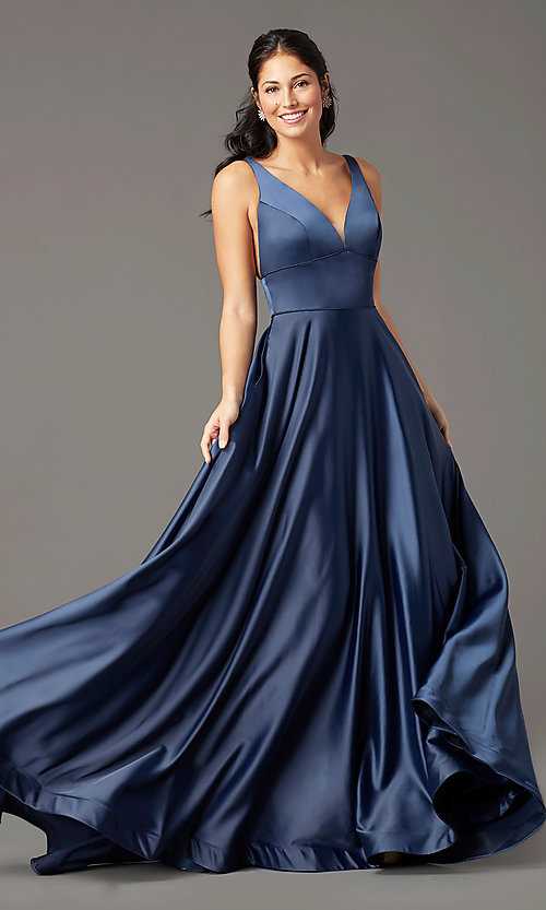 Image of PromGirl long satin prom dress with side pockets. Style: PG-B2007 Detail Image 2