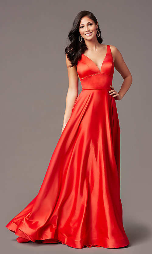 Image of PromGirl long satin prom dress with side pockets. Style: PG-B2007 Detail Image 5