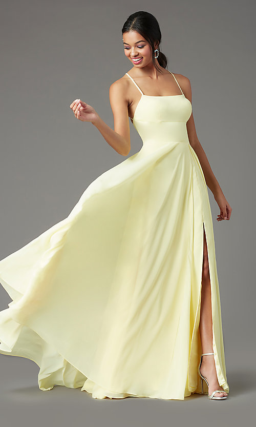 Image of long square-neck formal prom dress by PromGirl. Style: PG-B2011 Front Image