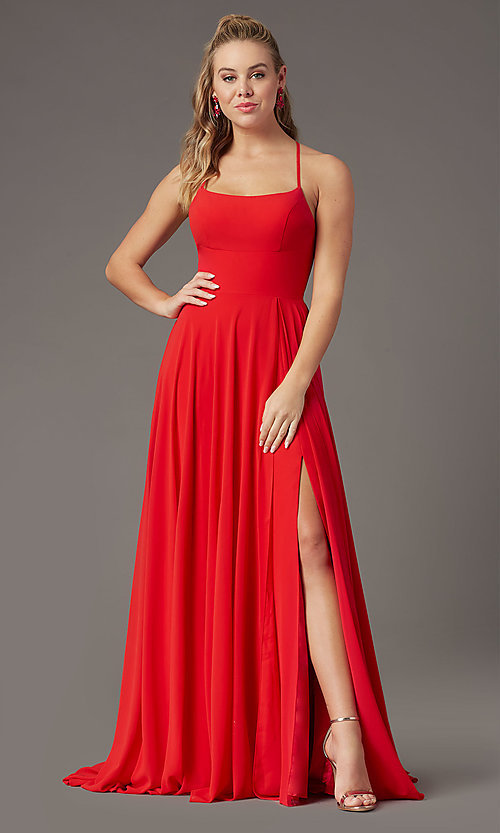 Image of long square-neck formal prom dress by PromGirl. Style: PG-B2011 Detail Image 7