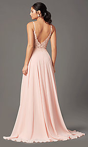Image of embroidered-bodice long prom dress by PromGirl. Style: PG-B2012 Detail Image 7