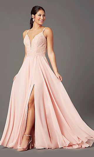 Embroidered-Bodice Long Prom Dress by PromGirl