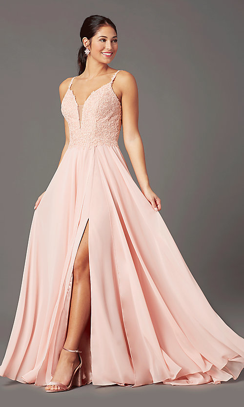 Image of embroidered-bodice long prom dress by PromGirl. Style: PG-B2012 Detail Image 6