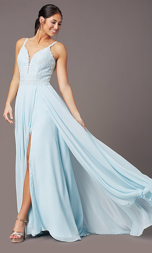 Image of embroidered-bodice long prom dress by PromGirl. Style: PG-B2012 Front Image