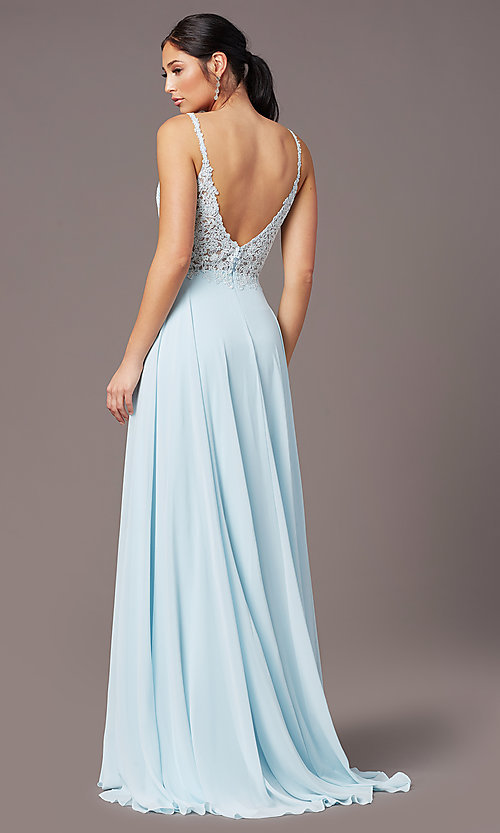 Image of embroidered-bodice long prom dress by PromGirl. Style: PG-B2012 Back Image