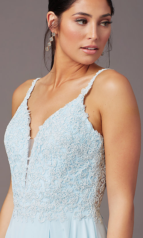 Image of embroidered-bodice long prom dress by PromGirl. Style: PG-B2012 Detail Image 1