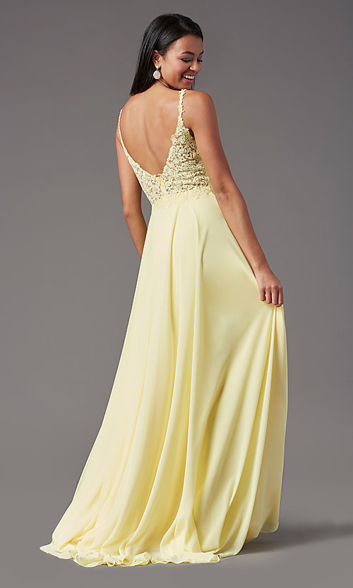 Image of embroidered-bodice long prom dress by PromGirl. Style: PG-B2012 Detail Image 3