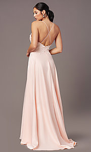 Image of embroidered-bodice PromGirl long formal prom dress. Style: PG-B2013 Back Image